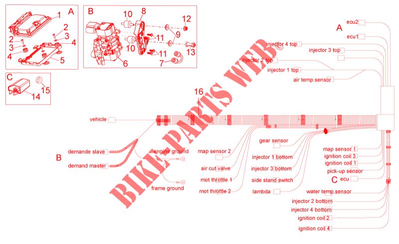 electrical system iii for aprilia tuono v4 r aprc abs 2014. Black Bedroom Furniture Sets. Home Design Ideas